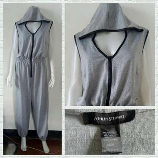 Plus Size Ashley Stewart Gray Sporty Jumpsuit with Hoodie