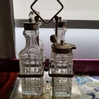 Vintage silver based crystal condiment set