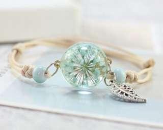 Dandelion glass ball rope bracelet