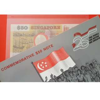 $50 Polymer Singapore 25th Anniversary in Folder UNC dated 9 August