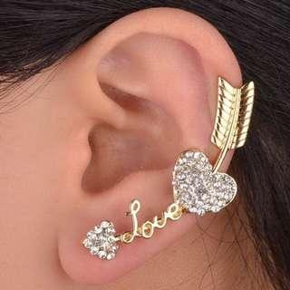 Love Heart Arrow crystal rhinestone ear cuff