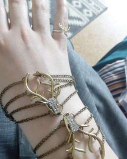 multi-layered vintage bronze deer antlers bracelet bangle chain cuff