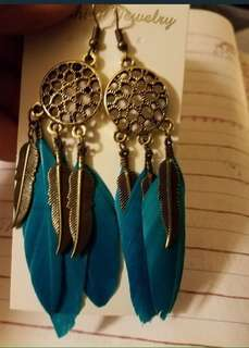 Bohemian Feather Dream Catcher Tassel dangling hook earrings