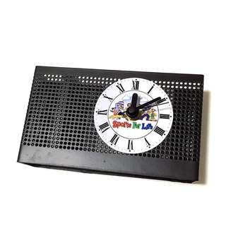 Metallic Clock & Desk Organiser