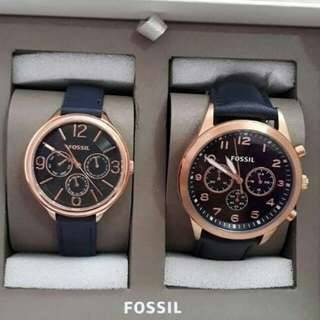 Fossil #BQ2186 Set Couple Navy 42 mm & 36mm
