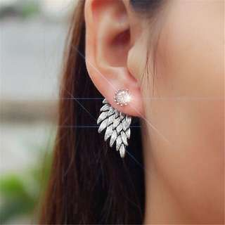 Gothic Angel Wing Drop Stud Earrings