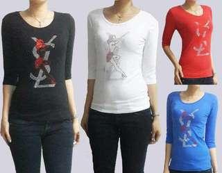 Atasan kaos import top blouse branded halus lycra tebel promo sale murah kemeja blazer