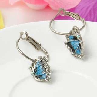 Blue butterfly dangle hoop earrings