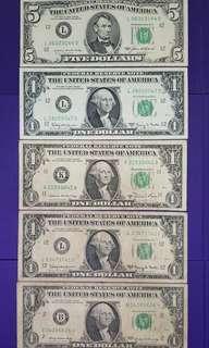 USA$5 & $1