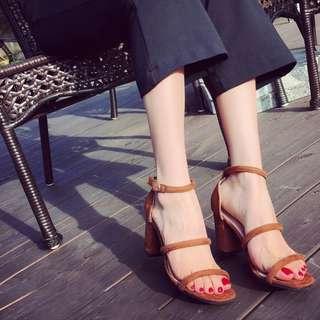 Korea style women fashion casual dinner high heel shoes