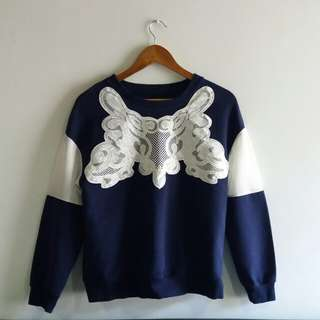Navy Pullover with Embroidered Lacy Patch