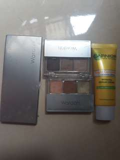 wardah eye shadow lip palette dan double function kit serta garnier