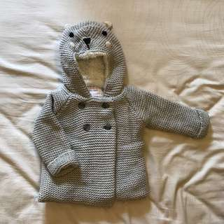 Zara baby girl hooded knit winter jacket