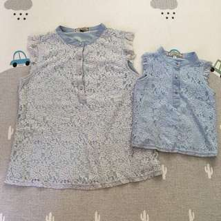L'zzie mummy and daughter set: light blue lacey top