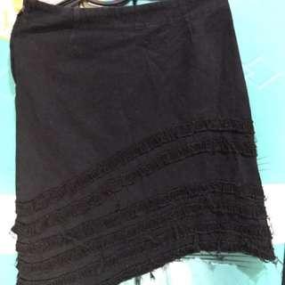 Ruffled Black Denim Skirt