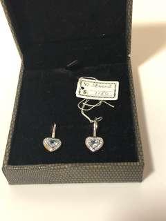 半價出售18K鍍金粉藍色半寶石耳環