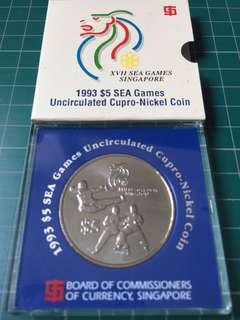 1993 $5 SEA Games Uncirculated Cupro-Nickel Coin