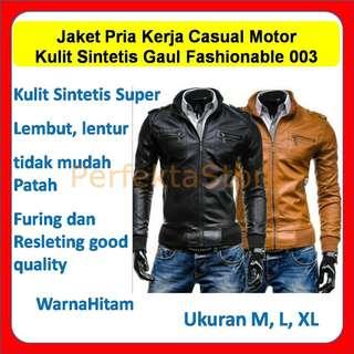 Jaket Cowok Pria Kerja Casual Motor Kulit Sintetis Gaul Fashionable 003