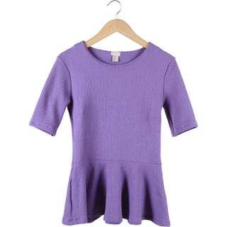 H&M Purple Textured Mini Dress