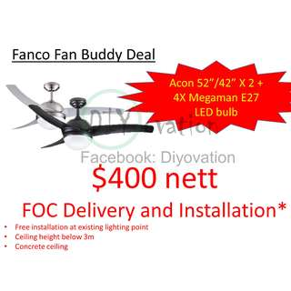 [Buddy Deal] Fanco Acon Ceiling Fan, Free Remote, Free led bulb, Free Installation