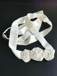 Hair sash with 3 flowers