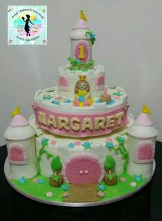 Princess and Castle Theme Fondant Cake