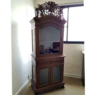 Reproduction Two-piece Peranakan Display Cupboard with Headpiece and Drawers