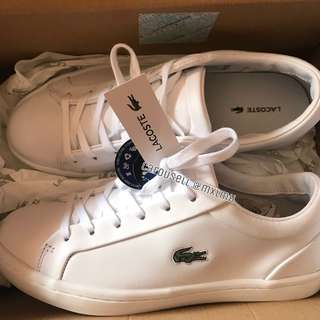 LACOSTE straightset lace White Leather sneakers women's size 6
