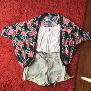 cotton on body floral tropical cardigan