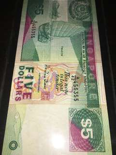 Singapore Paper Notes Nice Numbers 455-355