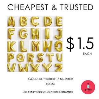 40cm gold foil balloon number/alphabeth