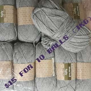 Grey 5 ply Acrylic Yarn for crochet or knitting