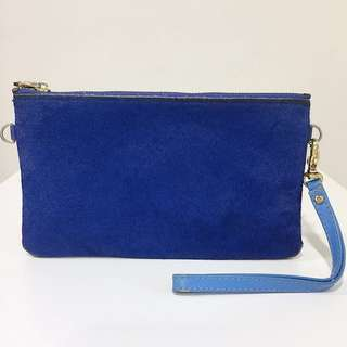 Royal Blue Fur Leather Pouch Wallet