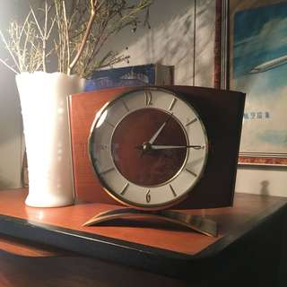 60s JUNGHANS electronic wood brass table clock Germany