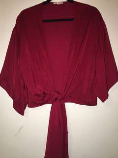 M Boutique Satin Wrap Shirt