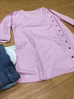 dress garis pink
