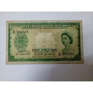 5dollar 1953 malaya note vfine condition
