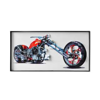 Red Chrome Chopper 3D Art Canvas Framed