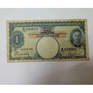 1dollar 1941 malaya note