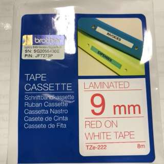 Brother Tape Cassette 9mm RED ON WHITE