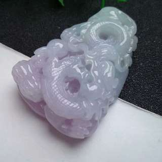 🍍Grade A 水润 Lavender Prosperity Dragon 招财祥龙 Jadeite Jade Pendant/Display🍍