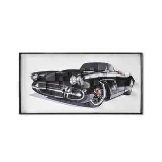 Black Convertible Classic Car 3D Art Canvas Framed