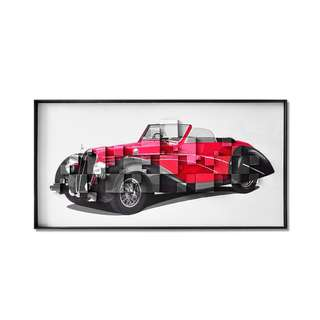 Red Convertible Classic Car Framed 3D Art Canvas