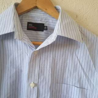 Blue and White Striped Long Sleeve Polo