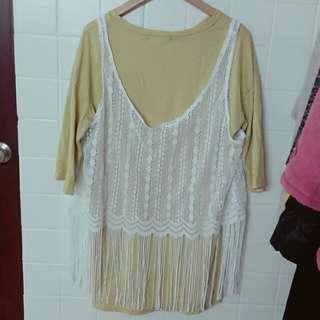 🚚 兩件式洋裝 蕾絲黃