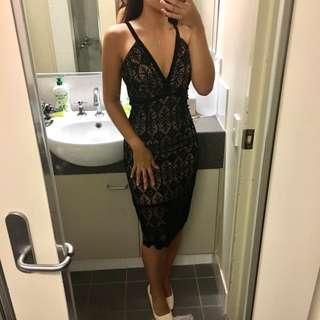 Bardot velvet lace dress