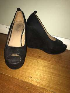 Rubi shoes black suede wedges