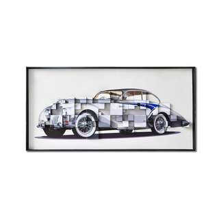 Grey Classic Car Framed 3D Art Canvas