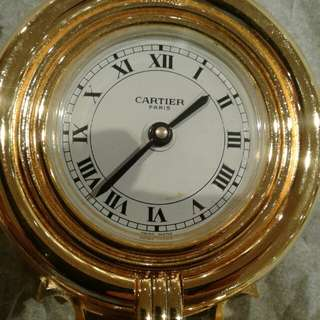 Original Cartier  alarm quartz desk table clock diameter size height 85mm x 75mm width condition is 100% rare highly collectible