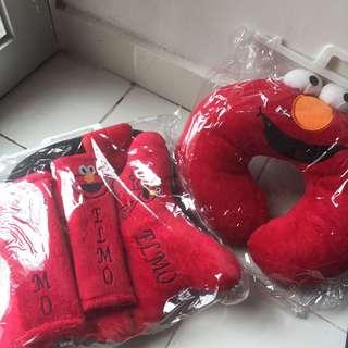 Sarung jok mobil 3in1 + bantal Elmo Sesame street